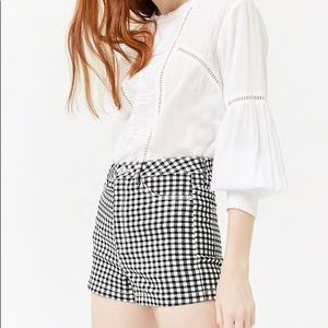 Checkered high waisted jean shorts